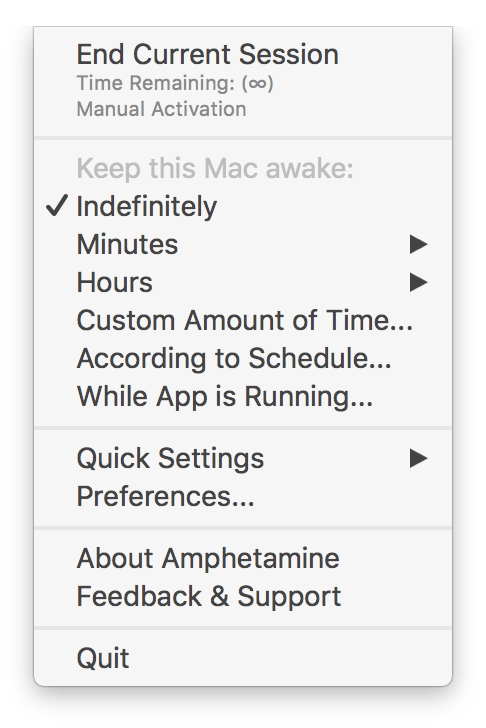 Default Amphetamine Settings in Presentation Account