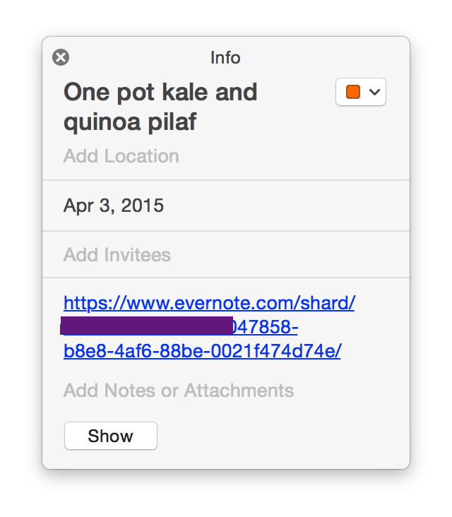 An event with an Evernote link in a shared calendar